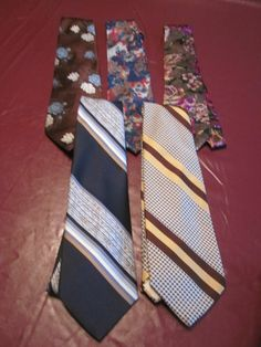 Dropped the starting price and changed to auction on eBay  Five (5) Vintage Mens Wide Neck Ties Polyester Multi-color Florals and Stripes  #NeckTie