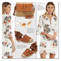 """Floral print dress"" by duma-duma ❤ liked on Polyvore"