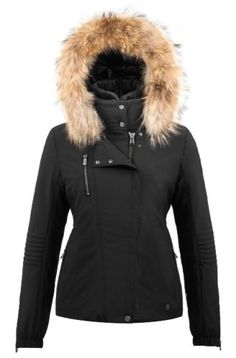 Poivre-Blanc-Short-Stretch-Faux-Fur-Ladies-Ski-Jacket-Black