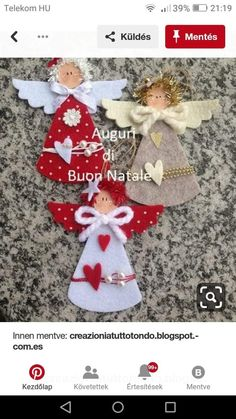 Easy Christmas Ornaments, Christmas Gift Decorations, Christmas Centerpieces, Christmas Crafts For Kids, Felt Ornaments, Christmas Projects, Christmas Time, Christmas Cards, Angel Crafts