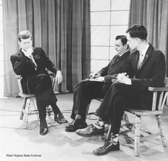 1960 Presidential Campaign in West Virginia Photographs  Photograph, Senator John F. Kennedy with WSAZ news director Nick Basso and Ken Kurtz, 1960, Charleston. Photograph by Emil Varney. Emil Varney Collection ❤❁❤❁❤❁❤❁❤❁❤  http://www.jfklibrary.org/JFK/JFK-in-History/Campaign-of-1960.aspx