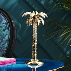 palm tree gold taper candle holder | CB2