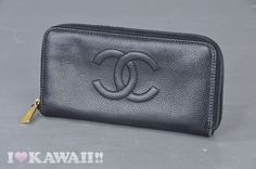 Authentic CHANEL Caviarskin Zip Around Long Coin Purse Wallet