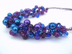 Crochet Wire Choker Necklace Blueberry Purple Blue by frenchsoul, $34.00