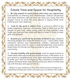 Create Time And Space For Hospitality #Catholic #Family #Reflection #printable http://info.sadlier.com/religion-blog/bid/85637/New-Evangelization-and-the-Beauty-of-Hospitality