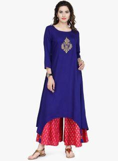 9d5e9a60e Designer Salwar Suit Set Blue Embroidered Palazzo Kurta Set Long Kurti