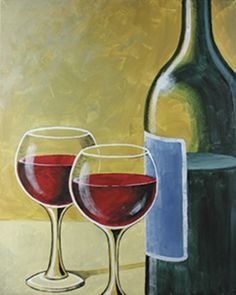 Enjoy a romantic evening painting for two by recreating this wine-for-two painting. This would look perfect hanging over your wine bar when you are finished. Canvas Painting Designs, Acrylic Painting Techniques, Canvas Designs, Painting Canvas, Art Techniques, Wine And Canvas, Wine Painting, Wine Display, Cafe Art