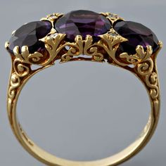 Antique Victorian Amethyst and Diamond Ring