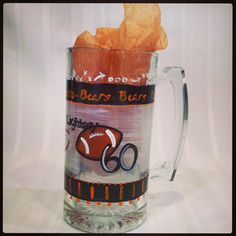 cheers...hand painted beer mugs, a must for any tailgating or home party. designed in school colors and features sport icon and jersey number, may be personalized with name  $28 per piece or $25 per piece for set of two. group discounts available. #merceruniversity #mercerfootball