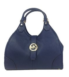 Michael Kors Hudson Large Leather Shoulder Tote, Navy  Pebbled leather backdrops the polish of a monogram medallion on a versatile shoulder tote. The pocket-lined interior neatly organizes the essentials.