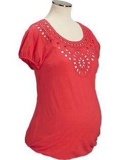 Maternity Eyelet-Trim Top, Rebellion Red, $29.94.