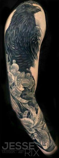 half sleeve tattoo ideas to help men to get coolest tattoos. Black Crow Tattoos, Skull Tattoos, Animal Tattoos, Black And Grey Tattoos, Body Art Tattoos, Fox Tattoos, Tree Tattoos, Deer Tattoo, Tattoo Black