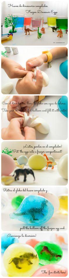 Hacer estos huevos de dinosaurio es súper divertido pero más descongelarlos. #nosolobaberos - ideas #diy #niños  Una excelente forma de compartir tiempo con nuestros hijos.