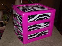 Three Drawer Plastic Organizer for Barbie accessories, doll house furniture, doll clothes. Plastic Drawers, Plastic Storage, Girls Bedroom, Bedroom Decor, Zebra Decor, Barbie Storage, Makeup Storage, Plastic Organizer, Duck Tape Crafts