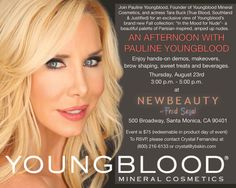 Have you RSVP'd to spend an afternoon with Pauline Youngblood yet?     On Thursday, August 23rd, we are hosting an event at the NewBeauty store in Fred Segal, Santa Monica. We will be featuring hands-on demos, makeovers, brow shaping, and sweet treats.     Actress Tara Buck will also be on hand to help introduce our Fall 2012 collection, so be sure to RSVP today!