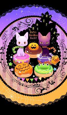 Bts Halloween, Kawaii Halloween, Halloween Drawings, Halloween Pictures, Halloween Cards, Vintage Halloween, Happy Halloween, Kawaii Wallpaper, Cartoon Wallpaper