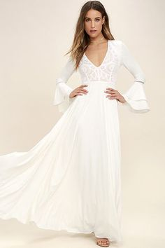 Enchanted Evening White Lace Maxi Dress 1
