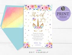 Rainbow Unicorn Thank you Card Unicorn Printables, Party Printables, Birthday Invitation Text, Birthday Thank You Cards, Photo Store, Rainbow Unicorn, Special Day, Prints, Ideas