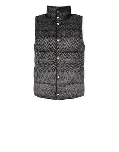 Reversible gilet in plain color nylon, with shaded multicolored knit outer coating. Regular fit.