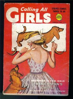 Vintage Calling All Girls magazine - Dachshund and girl - pin the tail on the dachshund party game