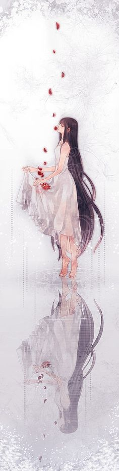 the flower petals floated into the sky as she let all her worries leave with them.