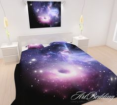 BEDDING, Galaxy Bedding, Galaxy Bedding Set, Nebula Duvet Cover, Purple Space Bedding Set, Space Universe Bedding, Stars Quilt Cover by ArtBedding on Etsy https://www.etsy.com/listing/215107372/bedding-galaxy-bedding-galaxy-bedding