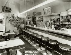 1950s-era scenes often include images of soda fountains: counter-style restaurants that served soft drinks and ice cream, often with a jukebox in the corner and teenagers filling the booths, bar and dance floor. These fountains typically occupied the corner of a drug store, and countless '50s-themed stories and films use a soda fountain as a principal setting.