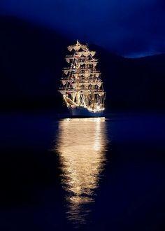 Tall ship at night!