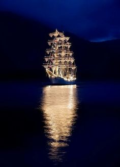 Tall ship at night!