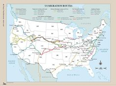 Family Tree Magazine's map of popular US migration routes: See how your US ancestors got from here to there.