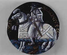 Godfroy de Bouillon Enameler: Colin Nouailher (French, active 1539, d. after 1571) Artist: Based on a woodcut by Jacob Cornelisz. van Oostsanen (Netherlandish, ca. 1470–1533) Date: ca. 1541 Culture: French, Limoges Medium: Painted and partly gilded enamel on copper