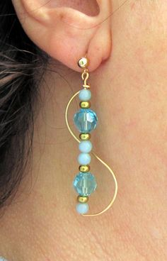 Handmade Golden Brass 2 Inch Dangle Glam Earrings . Summer Drop Earrings with Turqoise Swarovski Crystal & Natural Amazonite Beads.