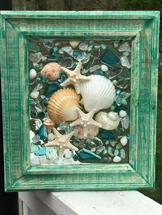 Beach Glass and shells in Frame resin beach glass