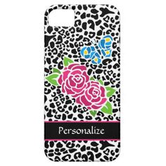A trendy black and white leopard pattern iPhone 5 Barely There Universal Case with girly pink roses and a cute blue butterfly with yellow spots in a mosaic style pattern. Personalize this designer animal print cellphone case by adding your name. Perfect for the chic teen girl into fashion.