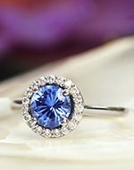 Sapphire Fancy Halo Diamond Ring in 18K White Gold, 8x6mm Oval Blue Sapphire