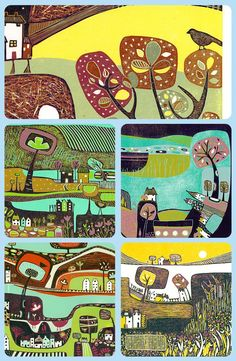 Delightful Lino Print, Painting, Wall Art Print, Gifts by Laylart Homemade Art, Linoprint, Mid Century Modern Art, Naive Art, Linocut Prints, Landscape Art, Wall Art Prints, Lino Cuts, Painting