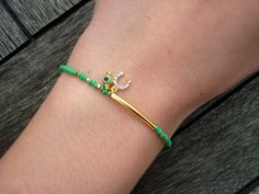 Evil Eye Beaded Green Friendship Bracelet by cocolocca on Etsy, $7.50