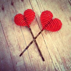 Cross My Heart - Hair Accessories - Heart Bobby Pins - Ododo Originals I Heart Hair, Valentines Day Photos, I Love Heart, Hat Hairstyles, Red Poppies, Red Wedding, Hair Jewelry, Hair Pieces, Hair Bows