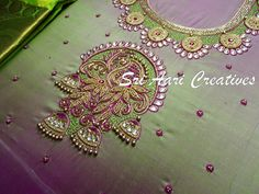 """Contact """"Sri Aari creatives """" - 9842995293 South Indian Blouse Designs, Silk Saree Blouse Designs, Bridal Blouse Designs, Aari Work Blouse, Hand Work Blouse Design, Simple Blouse Designs, Maggam Work Designs, Designer Blouse Patterns, Hand Embroidery Designs"""