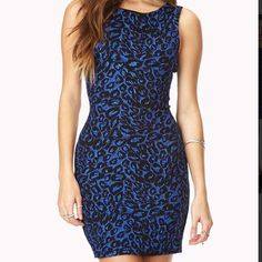 Forever 21 | Blue Cheetah Sequined Dress Blue cheetah sequined dress. Worn ONCE!   Host Pick 4.29.16 - Best in Skirts & Dresses! Forever 21 Dresses