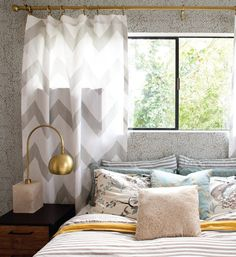 Gray chevron curtains + gray striped bedding + yellow turquoise and gray