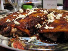 Homemade- everything from scratch Enchiladas.   http://tasteofsweet.wordpress.com/2009/02/06/authentic-mexican-chicken-enchiladas/