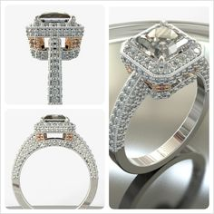 A one-of-a-kind proposal starts with a one-of-a-kind gift. Go custom with Brilliance! What do you think about this Custom Diamond Halo Ring?  http://brilliance.com/custom-engagement-rings (This custom diamond ring is set in 14K White Gold and Rose Gold and features a beautiful Princess-cut diamond in the center, encircled by pave diamonds with milgrain detailing. Rose Gold accents adorn the corners of the bottom of the halo.)