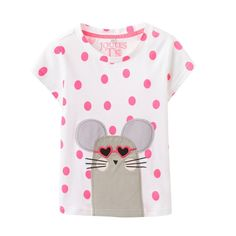 This white Joules t-shirt has been given the 'bubble and squeak' treatment - pink spots and a mouse applique! FREE UK postage over £30 or visit us in Lyme Regis