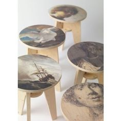 PLYWOOD PRINT STOOL BY PIET HEIN EEK The super cool Plywood Print stool is designed by Piet Hein Eek in collaboration with Dutch manufacturer NLXL LAB. They feature the most recognisable paintings from the art collection of Amsterdam's Rijksmuseum.