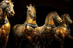 """""""The Horses of Saint Mark are a set of four Roman bronze statues looted from Constantinople in 1204 and installed on the facade of St. Mark's Basilica in Venice. They were taken by Napoleon to Paris before being returned after the Battle of Waterloo. Ancient Rome, Ancient Art, Republic Of Venice, Four Horses, Classical Antiquity, Horse Carriage, Horse Sculpture, Carousel Horses, Equine Art"""