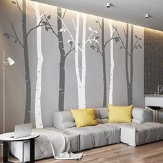 SunForest White Birch Tree Vinyl Wall Decals Nursery Forest Family Tree Wall Stickers Art Decor Murals - Set of Home & Kitchen Family Tree Mural, Birch Tree Mural, Birch Tree Wall Decal, Tree Wall Murals, Tree Decals, Wall Stickers Tree, Family Trees, Nursery Wall Decals, Vinyl Wall Decals