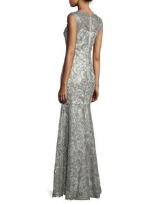 TCAF8 Tadashi Shoji Sleeveless Lace Mermaid Gown, Ash Gray