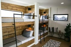 Upstairs space was limited, but we wanted Brett's four kids to have somewhere comfortable to stay when they're with dad out on the boat. We landed on a bunk room, and I love the way this design matches so seamlessly with the rest of the home's design.