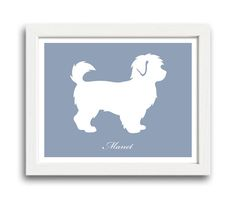 Personalized Maltipoo Silhouette Print with Custom Name